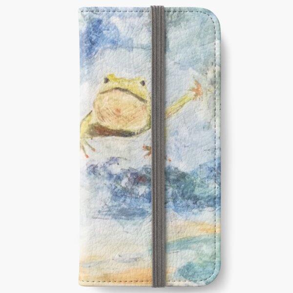 Fliegender tanzender Frosch in den Wolken iPhone Flip-Case