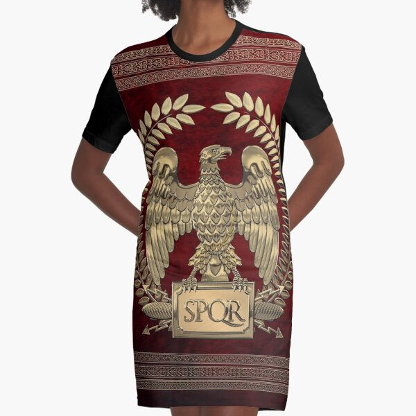 Roman Empire - Gold Imperial Eagle over Red Velvet Graphic T-Shirt Dress