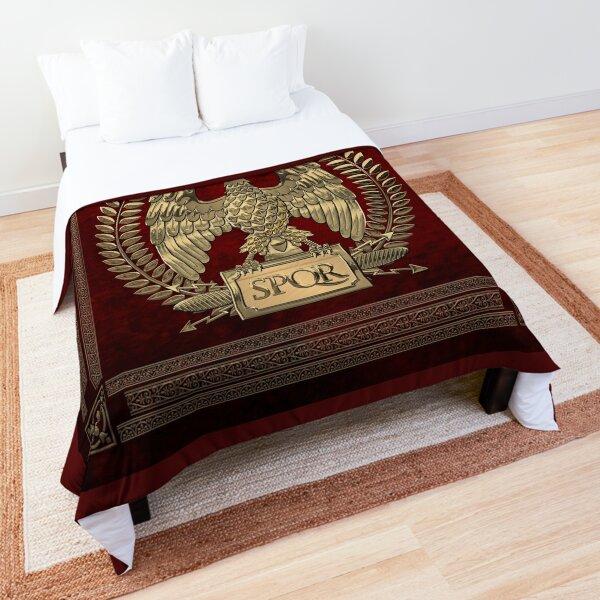 Roman Empire - Gold Imperial Eagle over Red Velvet Comforter