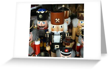 Christmas card with wooden toy soldiers by Cheryl Hall
