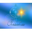 Christmas card with blue bauble Merry Christmas by Cheryl Hall