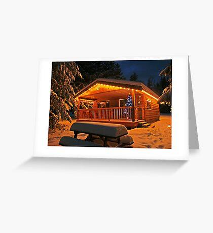 Christmas card with Christmas cabin Greeting Card
