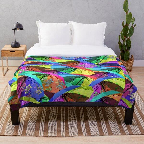 Colorful Floral Umbrellas Throw Blanket