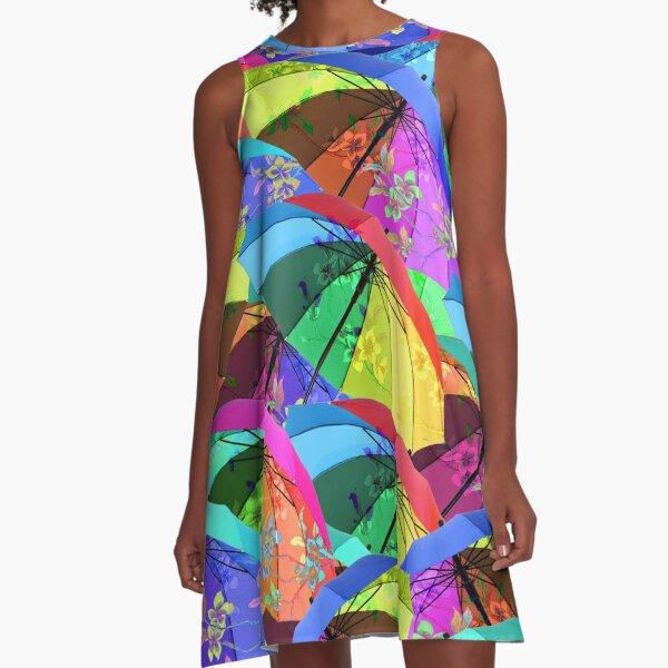 Colorful Floral Umbrellas A-Line Dress