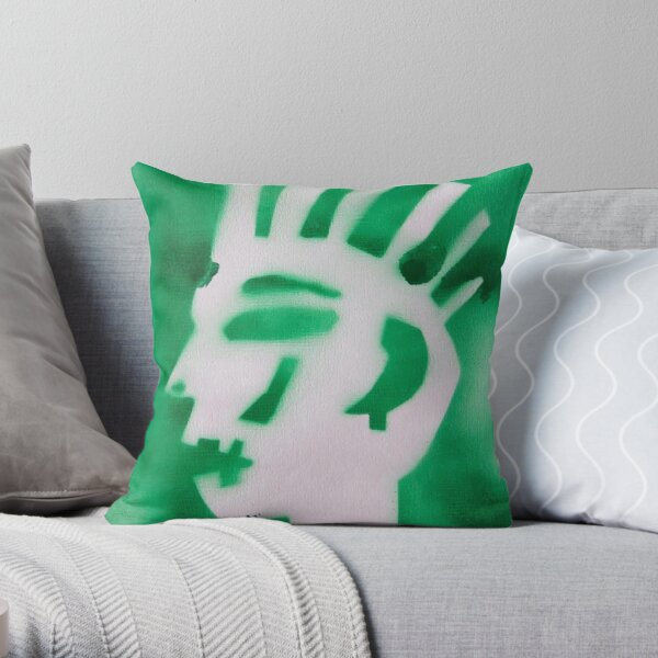 Green punk Throw Pillow
