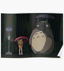 Totoro Rain scene Poster
