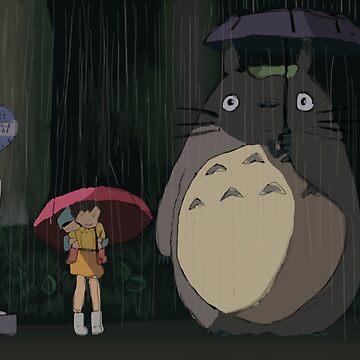 Totoro Rain scene by PaintedFrogs