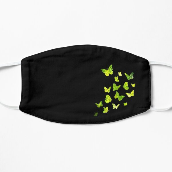Butterfly, Butterflies, Green Yellow Sparkles, Cute Monarch, Beautiful Colors, Brilliance Glitters, Black Background Flat Mask