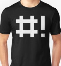 #! Hashbang - Design for Command Line Hackers White Font T-Shirt