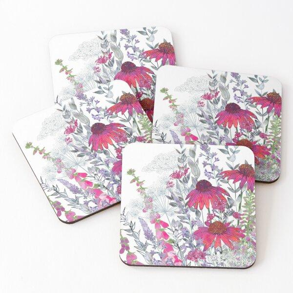 Pink Flower Garden - Echinacea Flowers, Foxgloves & Ammi Coasters (Set of 4)