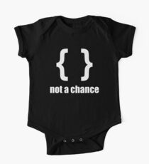 Braces not a chance - Humorous Design for Python Programmers White Font One Piece - Short Sleeve