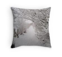 Country walk in the snow Throw Pillow