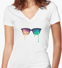 Psychedelic Nerd Glasses with Melting LSD/Trippy Color Triangles Women's Fitted V-Neck T-Shirt