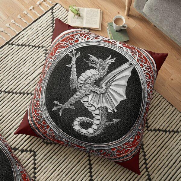 The Great Dragon Spirits - Silver Sea Dragon over Red Velvet Floor Pillow