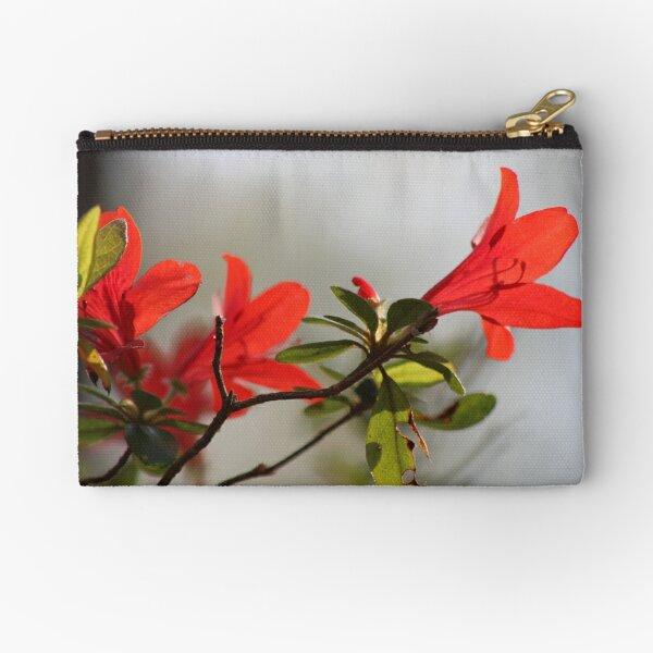 Fiery Bright Red Azalea Flower Blossom Zipper Pouch