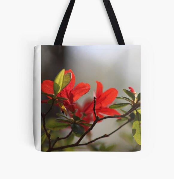 Fiery Bright Red Azalea Flower Blossom All Over Print Tote Bag