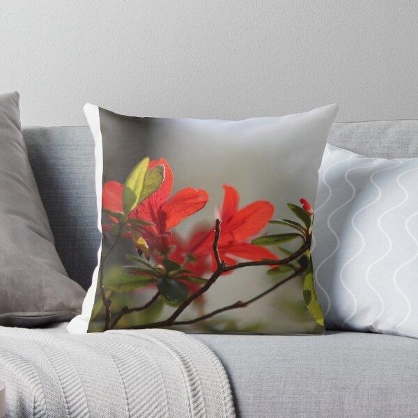 Fiery Bright Red Azalea Flower Blossom Throw Pillow