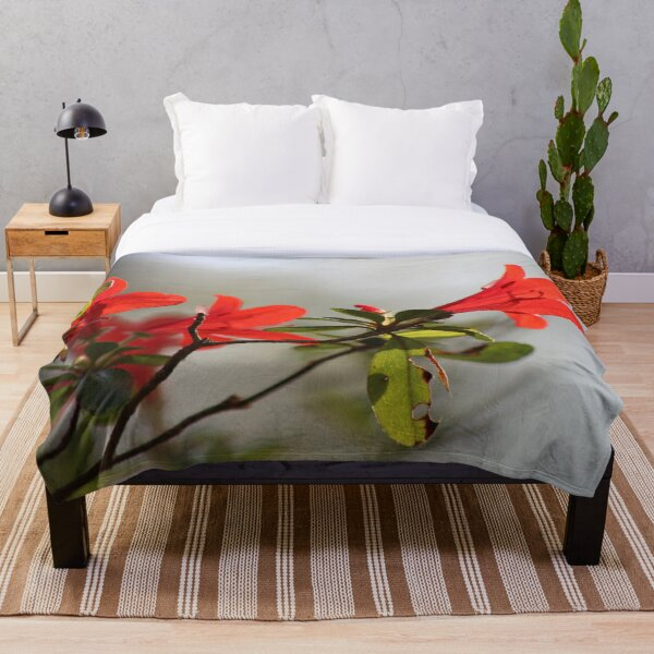 Fiery Bright Red Azalea Flower Blossom Throw Blanket