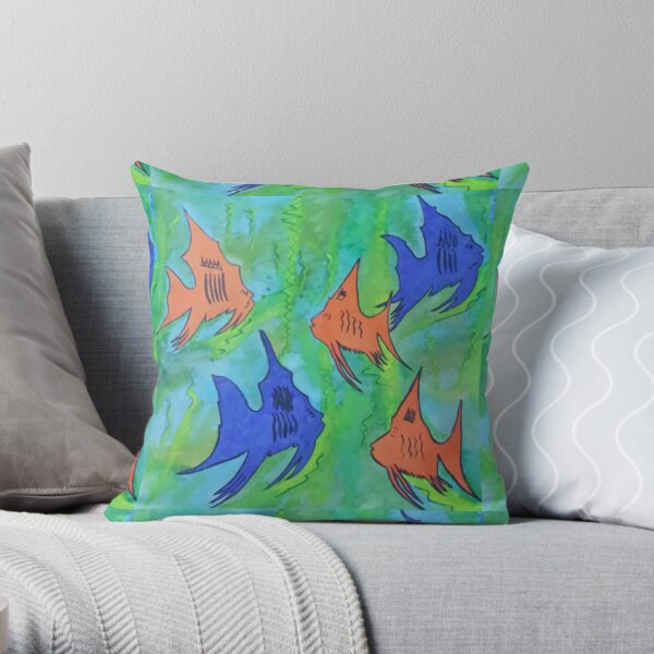 Brightly Coloured Fish Throw Pillow