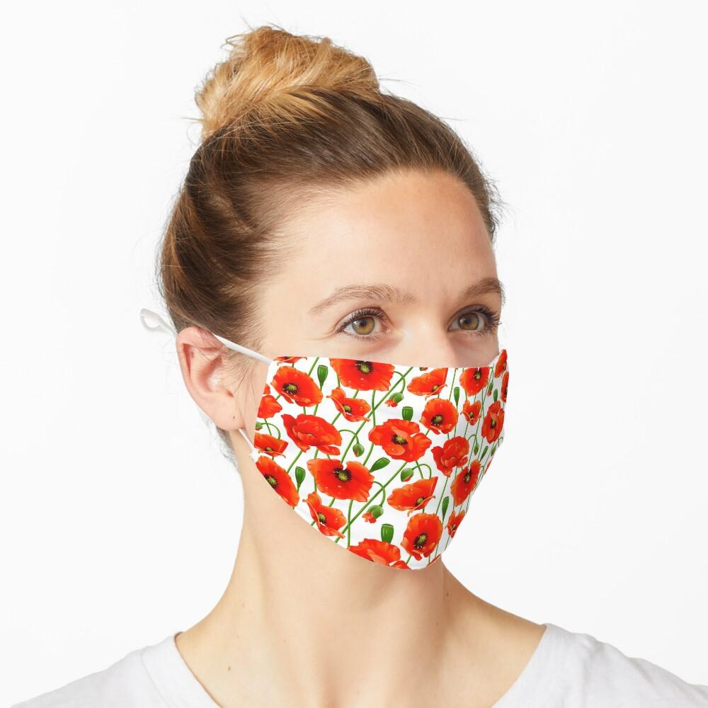 Beautiful Red Poppy Flowers Mask