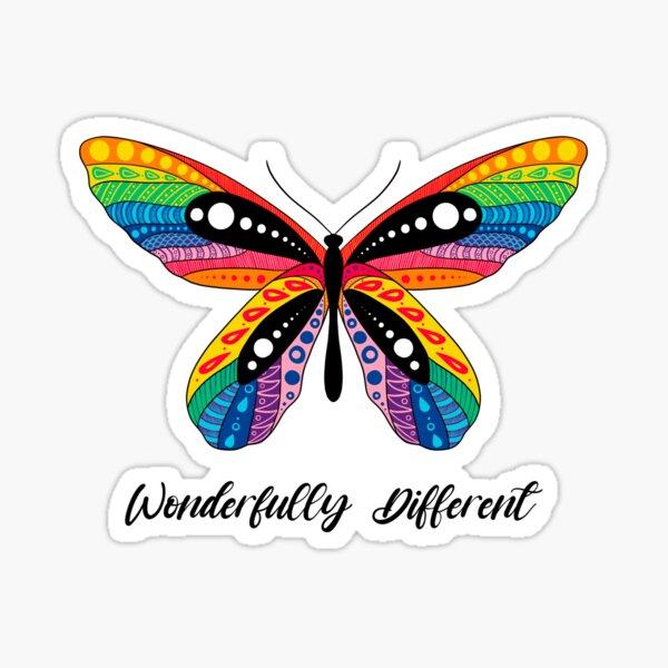 """Wonderfully Different"" Butterfly Sticker"