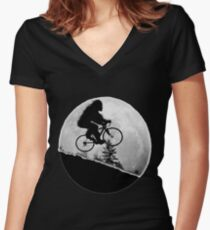 Bigfoot Rides! Women's Fitted V-Neck T-Shirt
