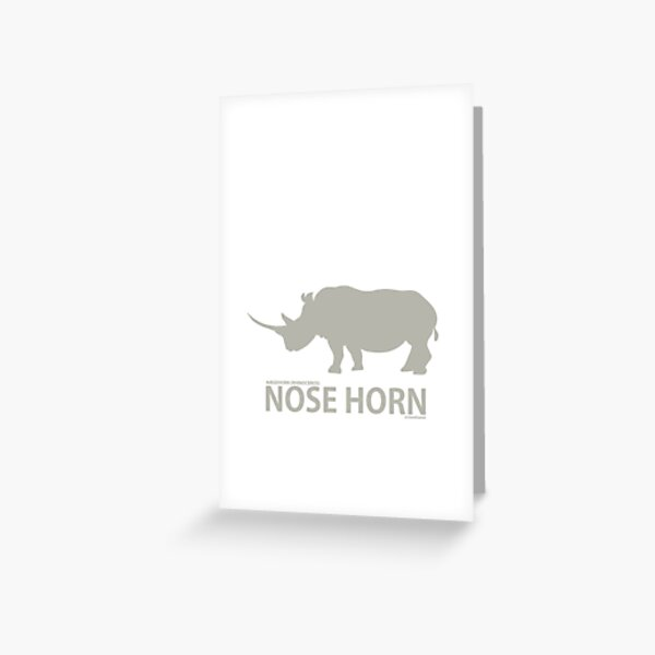 Grey rhino silhouette (Literal Danish) - Nose Horn Greeting Card