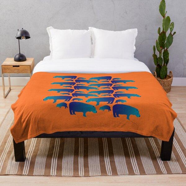 Seamless Decorative Hippo Family Pattern (on orange) Throw Blanket