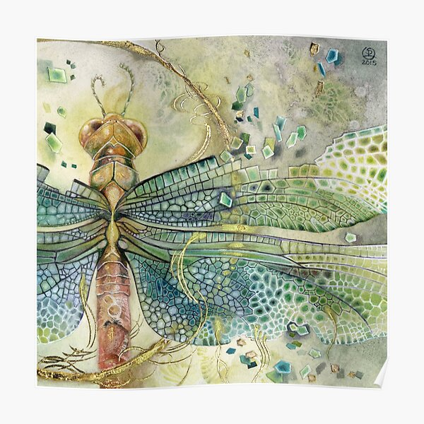 Green Jewel Dragonfly Poster