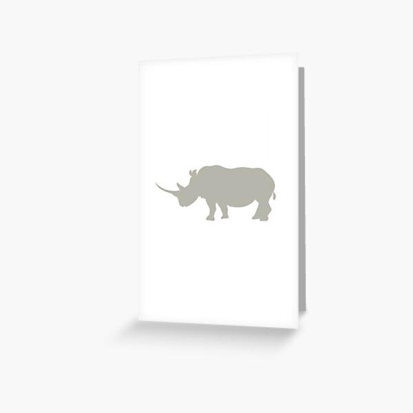 Grey rhino silhouette Greeting Card