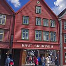 Wooden shops of Bergen by Steve plowman
