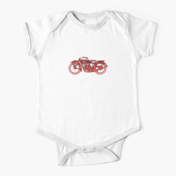 Vintage Indian Scout Motorcycle Print Short Sleeve Baby One-Piece