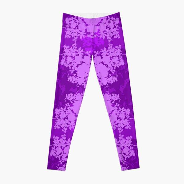 Layered Graphic Floral Silhouette Design Leggings