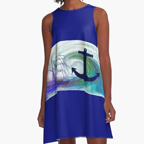 Nautical Blue A-Line Dress