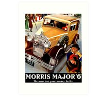 Morris Major 6 British classic car art deco advert Art Print