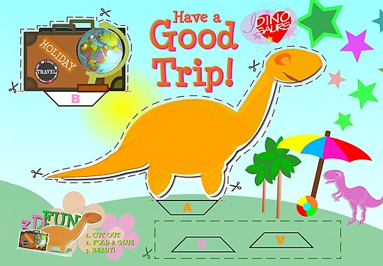 Cute Cartoon Dinosaur Good Trip Holiday Cut & Paste Craft by cutecartoondino