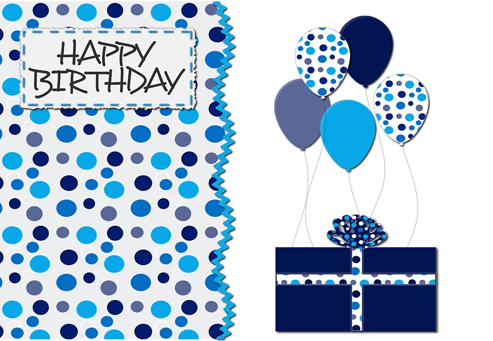 Birthday- Blue Dots, Gift and Balloons  by Lorene  Troyer