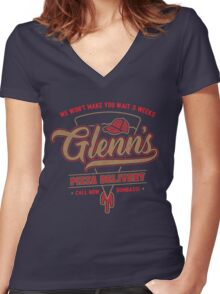 Glenn's Pizza Women's Fitted V-Neck T-Shirt