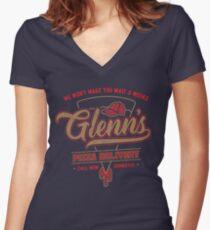 Glenn's Pizza Women's Fitted V-Neck T-Shirt