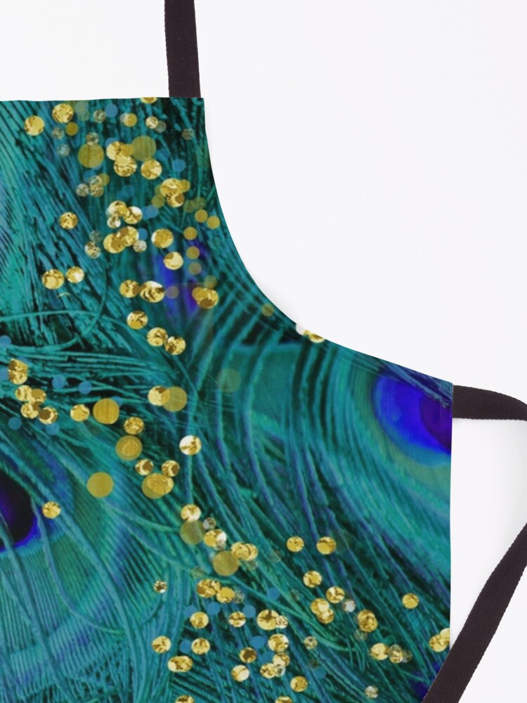 Alternate view of Dreamy peacock feathers, teal and purple, glimmering gold Apron