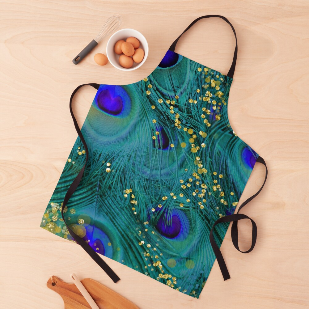 Dreamy peacock feathers, teal and purple, glimmering gold Apron