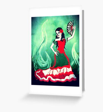 spanish sugar skull dancer Greeting Card