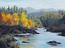 Original Landscape Painting - Autumn Falls by Karen Ilari