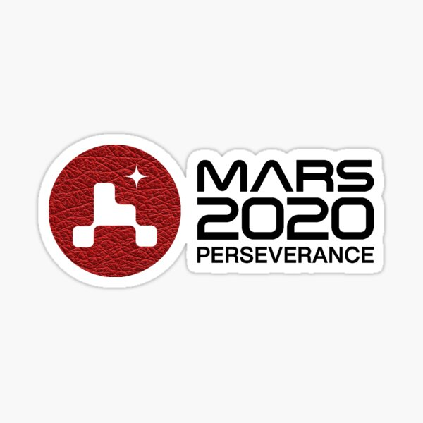 Mars 2020 Perseverance - Red Leather Patch - White Sticker