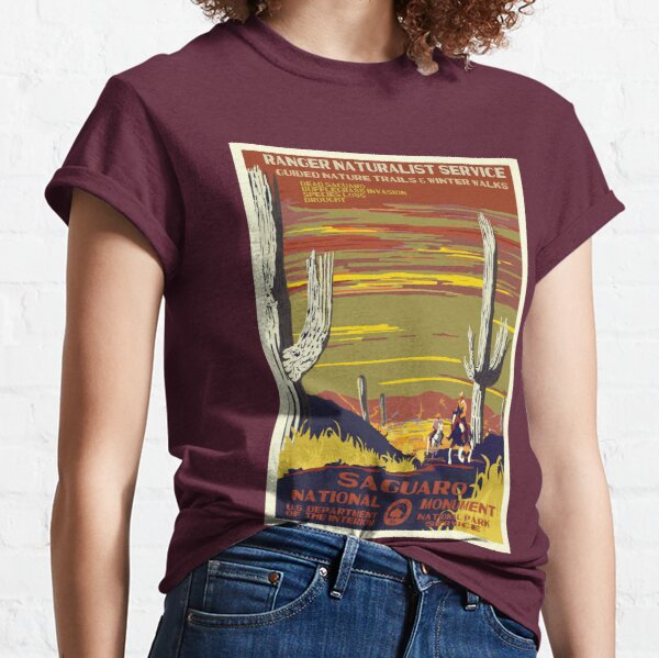 Retro WPA Poster of Sagurao National Park Reimagined for the Future with Climate Change Classic T-Shirt