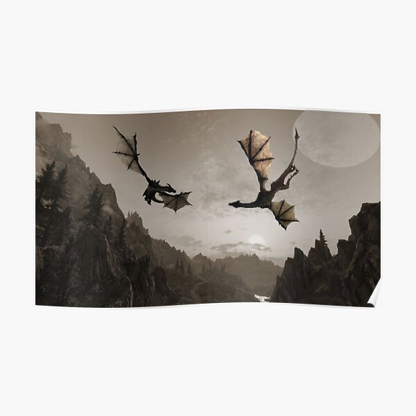 Two dragons flying over the mountain Poster
