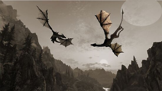 two dragons flying over the mountain photographic prints by