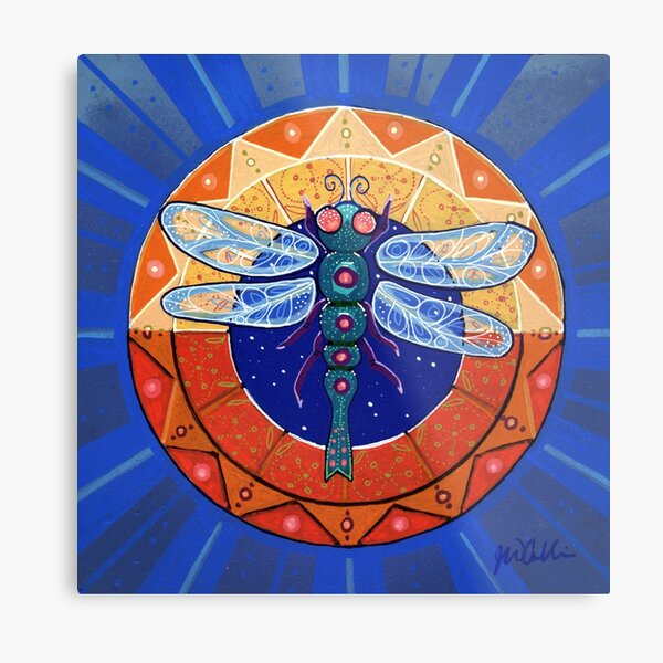 Dragonfly Compass Metal Print