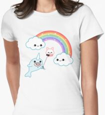 Cute Flying Narwhal Womens Fitted T-Shirt