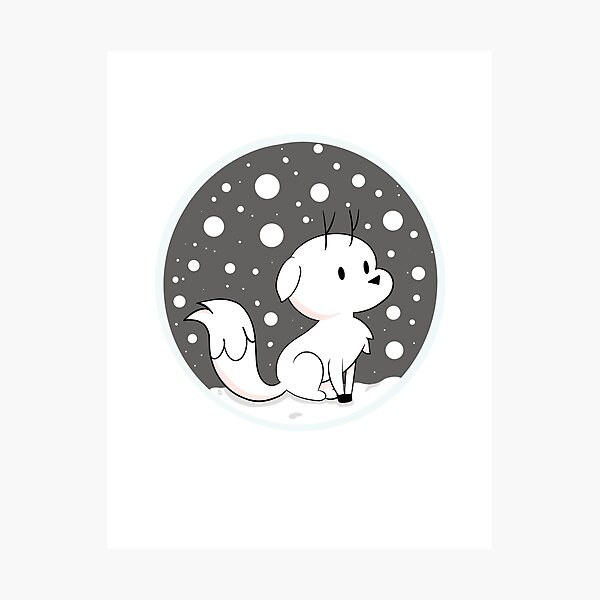 Snow Fox // Twig  Photographic Print